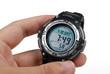 holding a wristwatch
