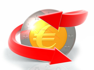 red arrow with eurocoin
