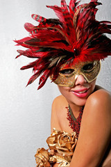 African American woman in mask