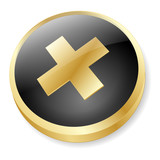 CROSS Web Button (Cancel No Negative Reject Stop Wrong Gold 3D) poster