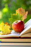 Fototapety Apple and leaves on book.