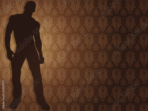 Sexy boy against damask background