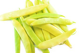 Pile of yellow wax bean pods isolated on the white background