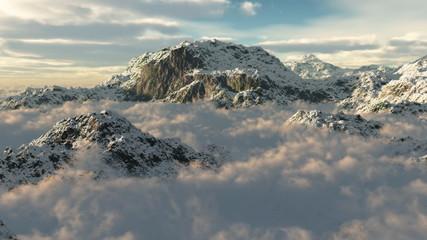 (1054) Snow Mountain Winter Wilderness Clouds Peaks Flying