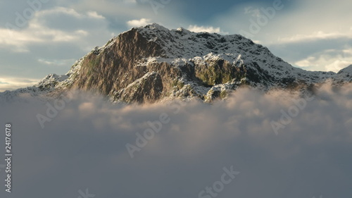 (1054) Snow Mountain Winter Wilderness Clouds Peaks Flying