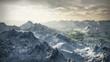(1058) Snow Mountains Winter Wilderness Glaciers Adventure