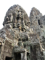 Cambodia, stone sculptures in a temple of Bayon.