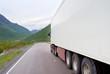 Semi-truck on mountain road