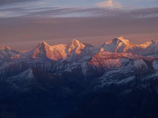 Alpenglühen mit Eiger, Mönch und Jungfrau