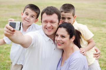 Cheerful family of five taking self portrait
