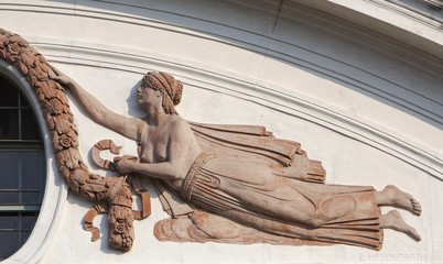 Relief of Muse, architectonic detail from Vienna