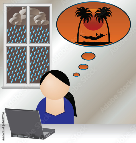 Woman booking holiday online to escape the rain at home