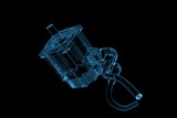 Electric motor (3D xray blue transparent)