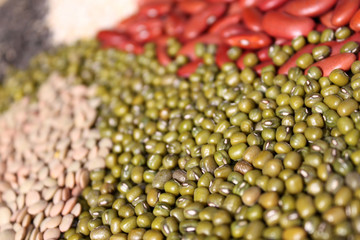 beans, mung beans selective focus