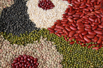 beans, legumes assortment background