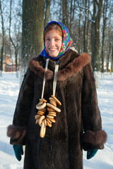 girl in russian traditional clothes
