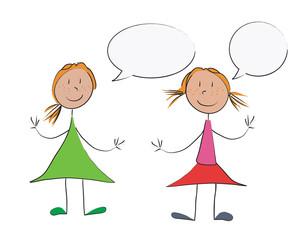 2 filles bulles dialogue