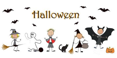 5 enfants déguisés halloween