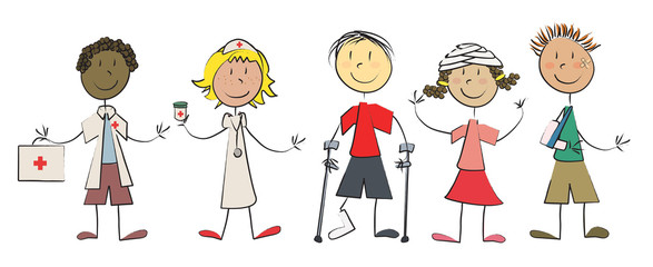 5 enfants malades guéris + médecin infirmière