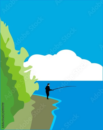Fisherman with a fishing tackle on cloud's background