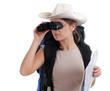 young female tourist using binoculars