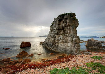 Russia, Primorye, sunset rock