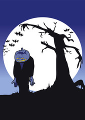 Halloween full moon night scene