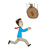 Man catching money bag