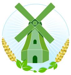 grüne Windmühle