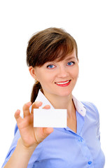 Sexy woman with business card over white