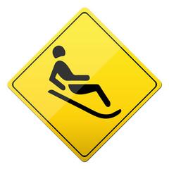 rodeln, rennschlitten, button, schild, sign