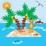 Island with monkey and palms