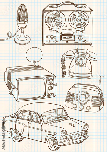 Doodle retro set, vector illustration