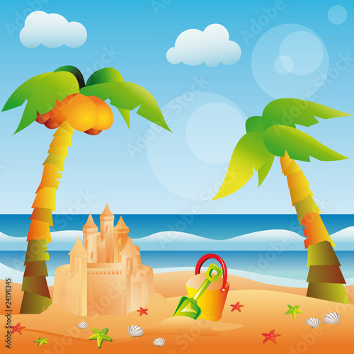 Summer card with sand castle, vector