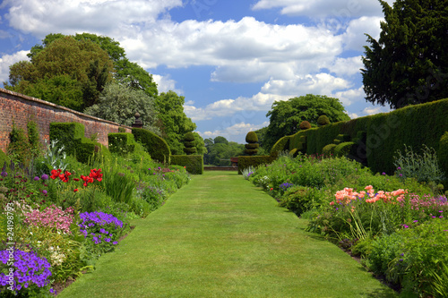 English garden with topiary shrubs