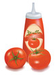 Ketchup with a label and tomatoes. Vector.