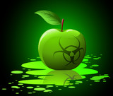 Green toxic apple with biohazard sing on black background poster
