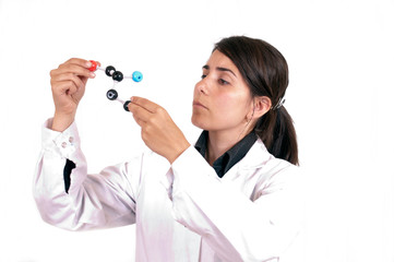 woman scientist with organic molecule