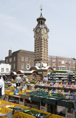 Market at clocktower. Epsom. Surrey. England