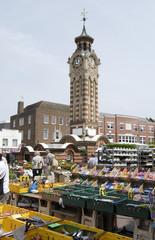 Market at clocktower. Epsom. Surrey. England