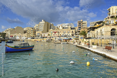 Fishing boats docked at St Julians harbour, Valletta