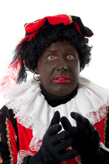 scared Zwarte piet ( black pete) typical Dutch character