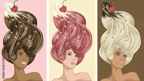 Beautiful women with ice cream hair