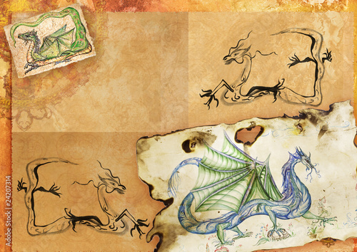 Age-old sheet of paper with dragons