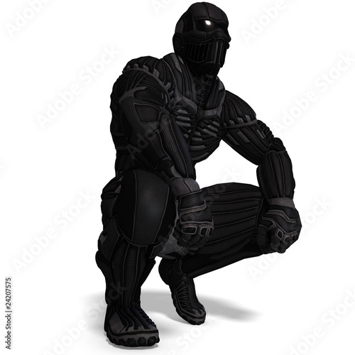 Science fiction male character in futuristic suit 3d rendering