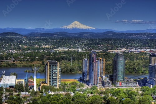 Portland Oregon with Mount Hood in the background