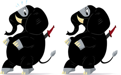 Sneaking, nervous ninja Elephant.
