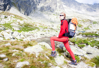 woman backpacker at Five Spis Tarns, High Tatras,Slovakia