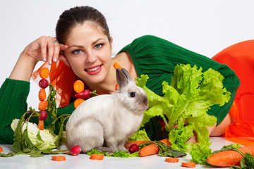 Girl and pygmy rabbit