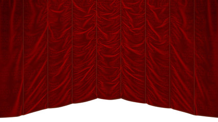 Red theater Curtain with beautiful textile pattern